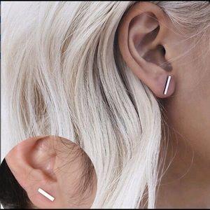 Jewelry - Silver Tone Minimalist Rectangle Stud Earrings